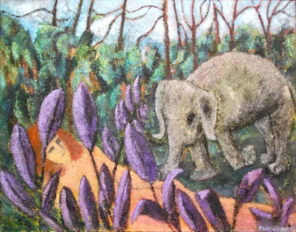"Baby Elephant Meets Sleeping Beauty  , Acrylic, Sand and Shells, 48""x60"""