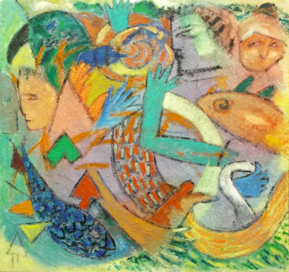 """Bird hand&man  , Acrylic, 62""""x66"""""""