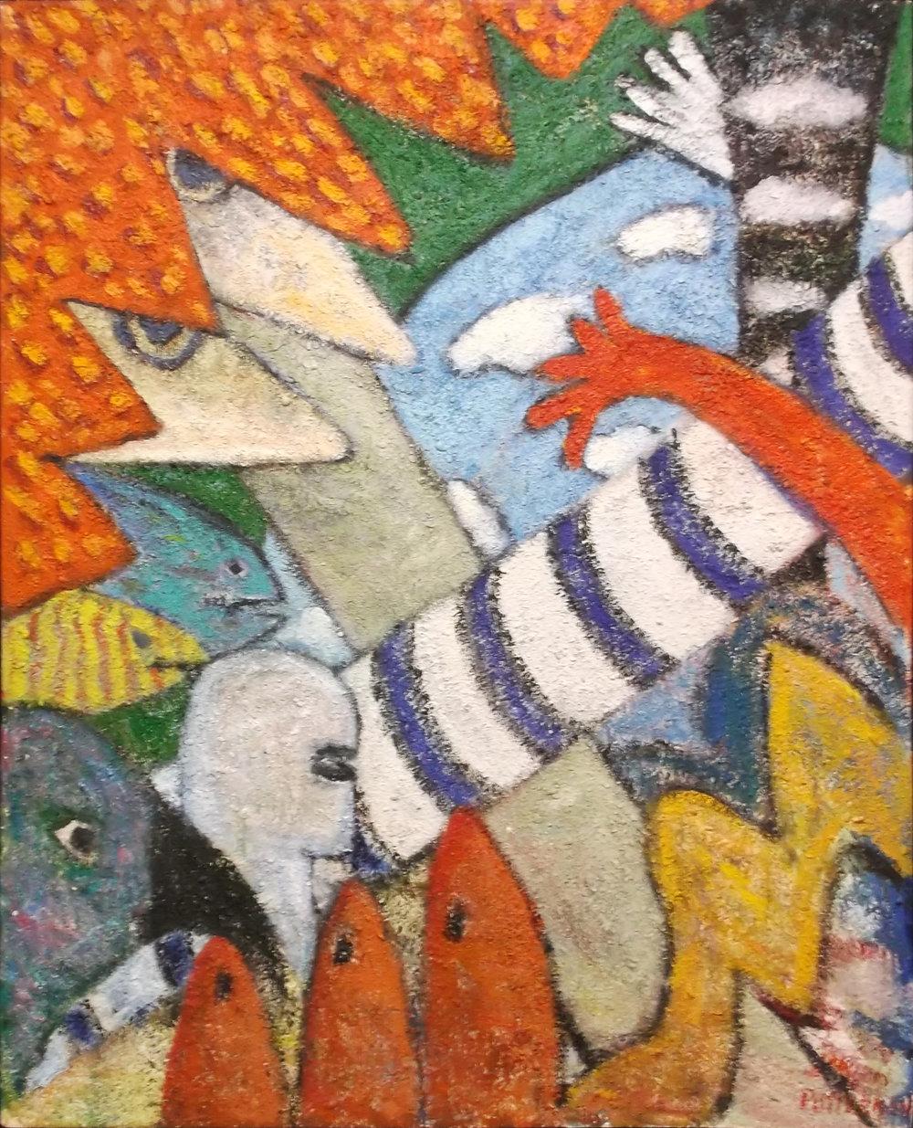 Bird, Hand & Man Series, Acrylic & Sand, 60x48.jpg