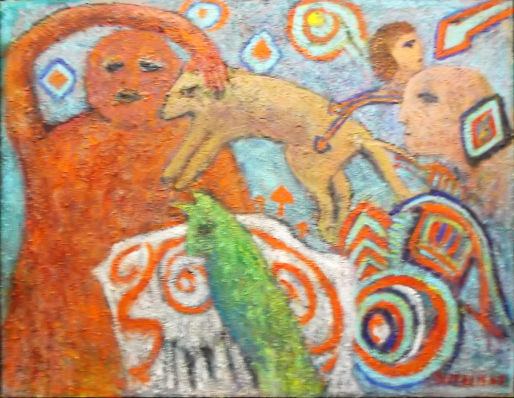 """Mucho Moki II  , 2010, Acrylic and Sand on Wood, 48""""x60"""""""