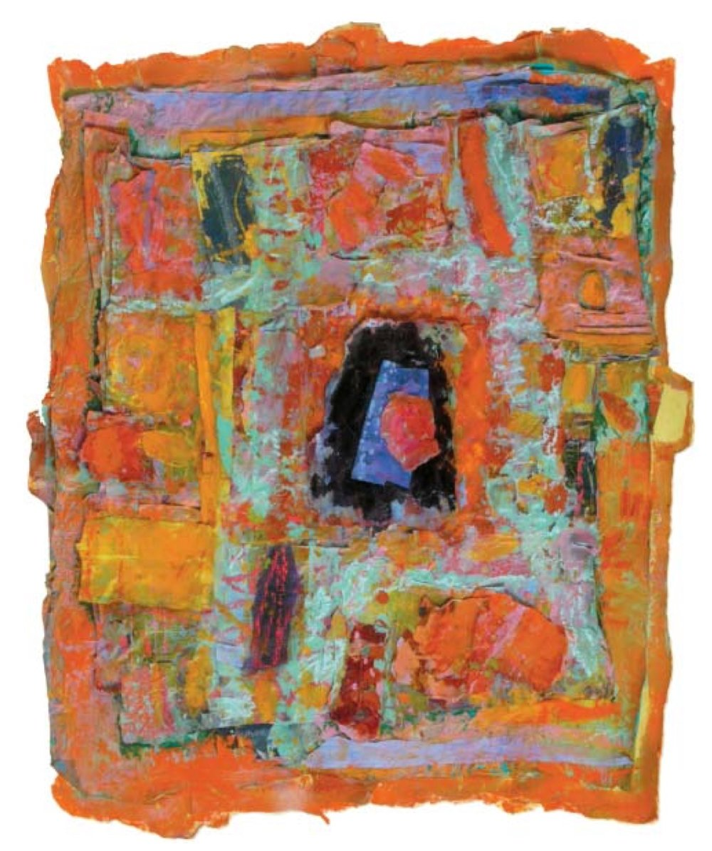 "Roseline Koener    Temple With Walls Of Joy,   Tempera on fabric, 30"" x 26"", 2008"