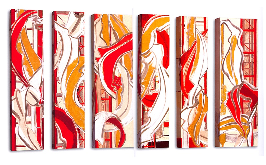 """Gold leaf I - VI  , Paper collage on canvas, 36""""x8""""x3"""" (Each), 2007"""