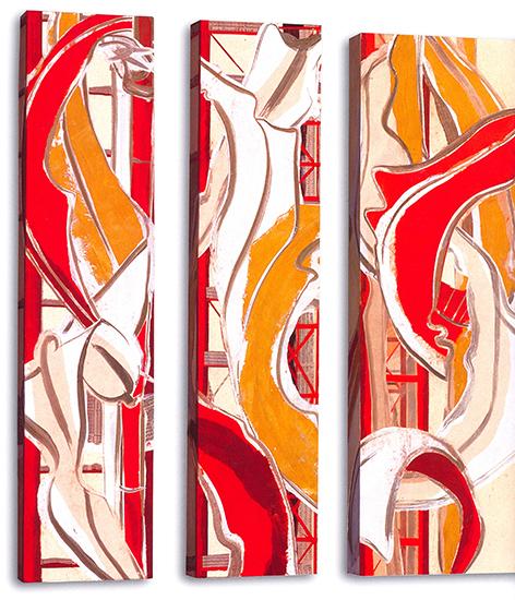 "Gold leaf I & II & III  , Paper collage on canvas, 36""x8""x3"" (Each) or 36""x12""x3"", 2007"