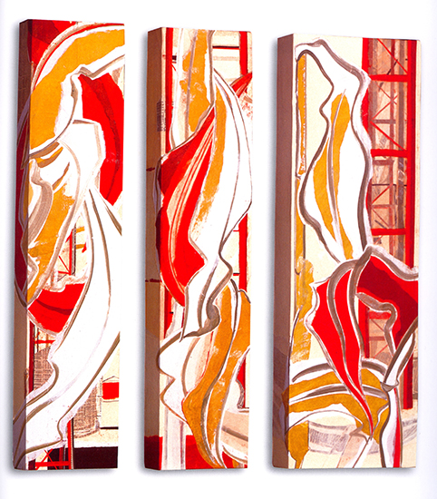 """Gold leaf IV & VI  , Paper collage on canvas, 36""""x8""""x3"""" (Each) or 36""""x12""""x3"""", 2007"""