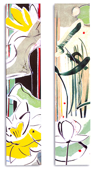"""Suite for the shallows IV & V  , Paper collage on canvas, 24""""x5""""x3"""" (Each), 2007"""