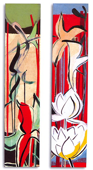 "Suite for the shallows VII & VIII  , Paper collage on canvas, 24""x5""x3"" (Each), 2007"