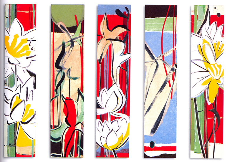 """Suite for the shallows VI - X   , Paper collage on canvas, 24""""x5""""x3"""" (Each), 2007"""