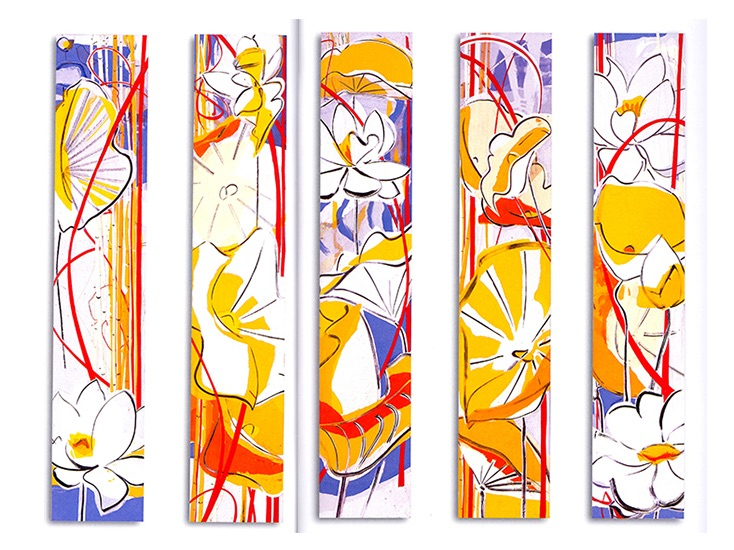 """Inland waters I - V  , Paper collage on canvas, 42""""x8""""x3"""" (Each), 2008"""