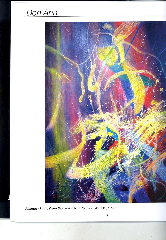 """Don Ahn    Phantasy in the Deep Sea,   Acrylic on canvas, 54"""" x 36"""", 1997"""