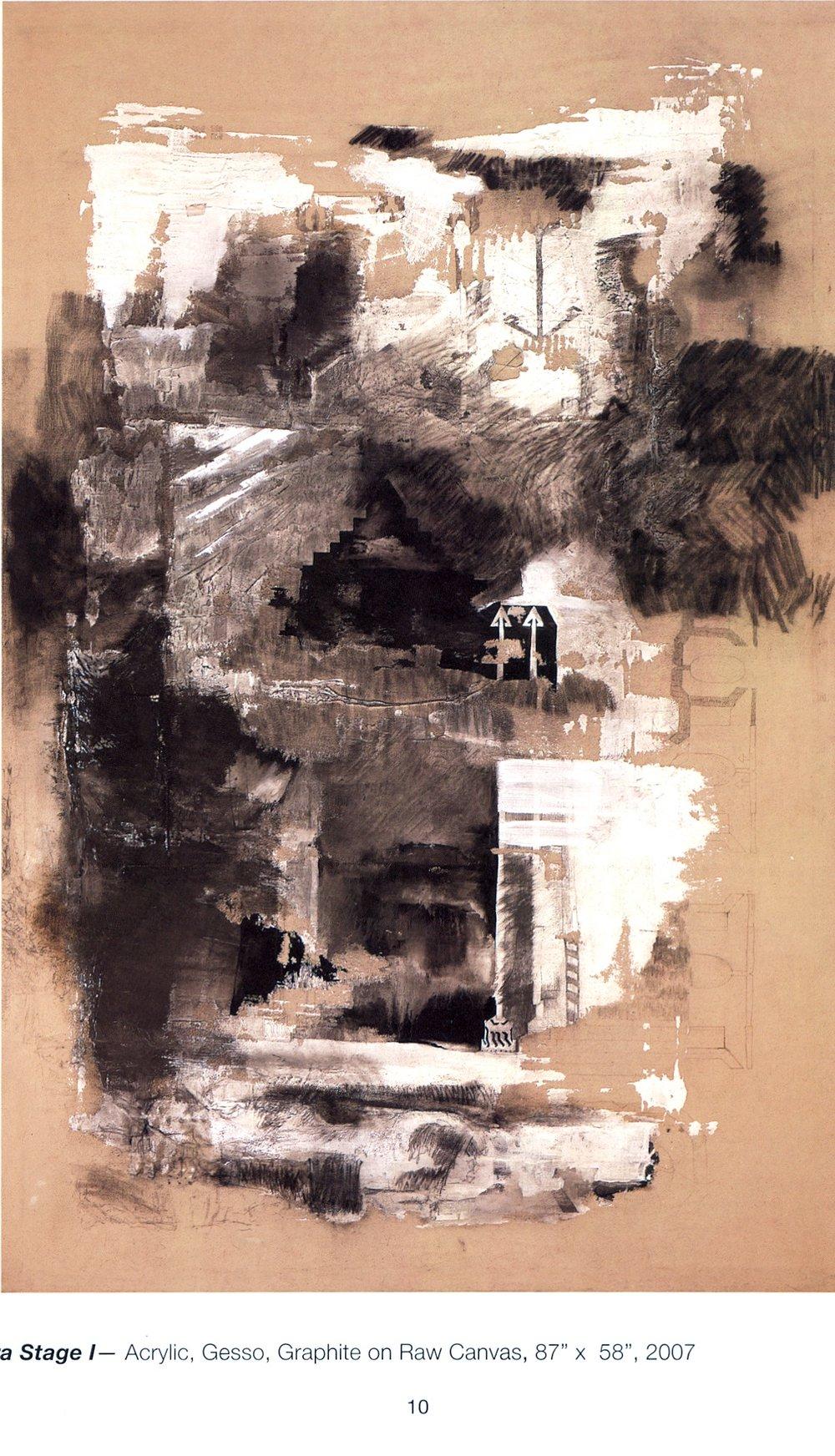 "David Brewster    Oasis Lombardies,   Oil on Mi-Tientes, 26"" x 48"", 2007"
