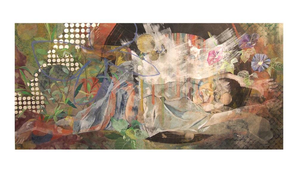 "Masaya Nakayama,   Untitled,   2017, Nutural pigments, sumi ink and silver leaves on mash paper, 73""x 35"""
