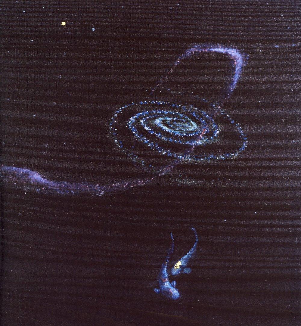 "James David Thomas    Singularity, 2004 .  Oil and gold leaf on wood, 7 1/4"" x 7 1/4"""