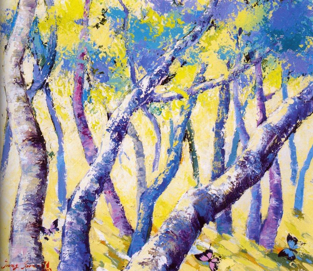 "Sung-Soon Yang    Blue with Joy, 2003 .  Oil on canvas, 20.9"" x 17.9"""