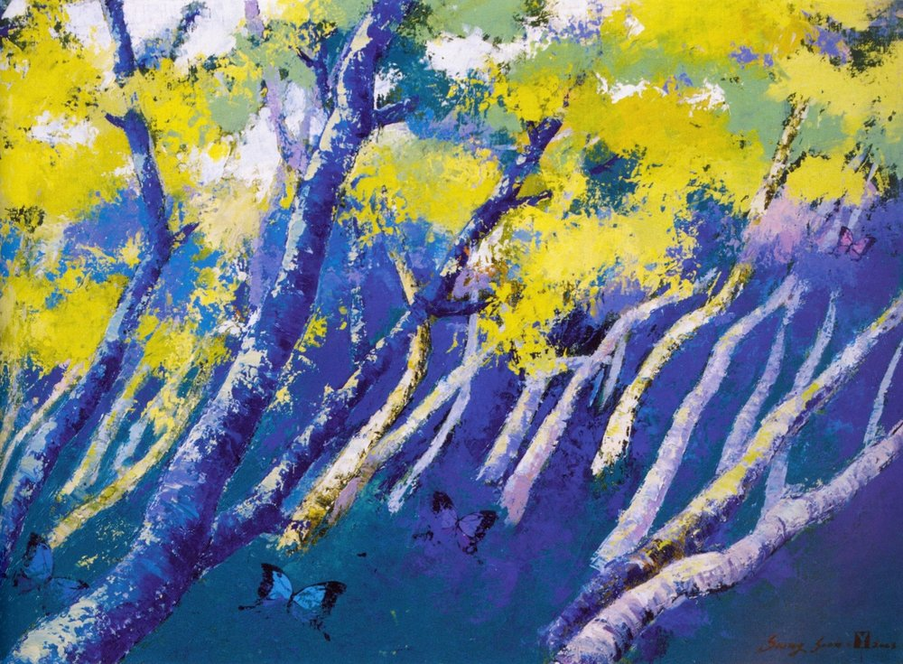 """Sung-Soon Yang    Blue with Wind, 2003 .  Oil on canvas, 28.5"""" x 20.9"""""""
