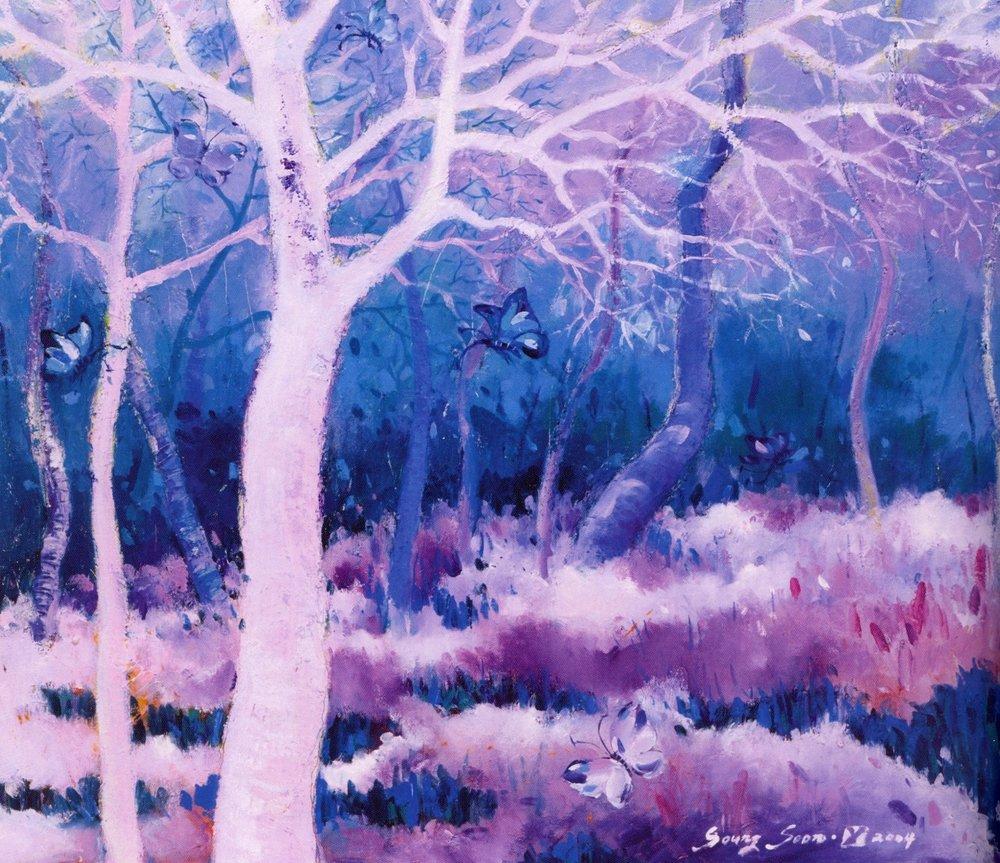 "Sung-Soon Yang    Meet My Angel, 2004 .  Oil on canvas, 23.9"" x 28.6"""