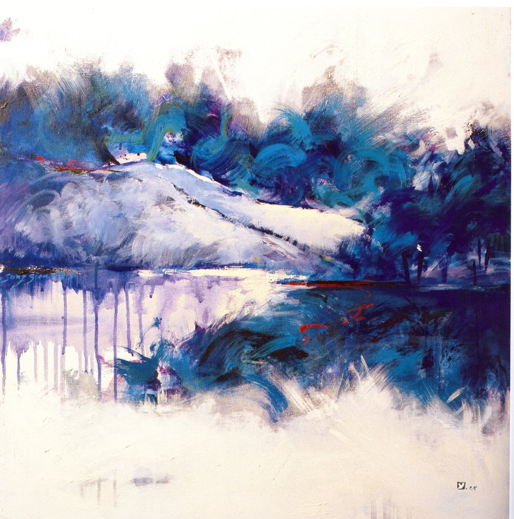 "Sung-Soon Yang    Blue River,   acrylic on canvas, 30"" x 30"", 2005"