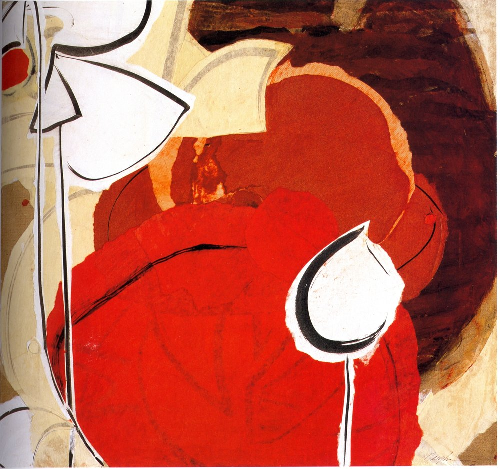 "Meighen Jackson    Red Lotus Pond,   collage on linen, 30"" x 28"", 2005"