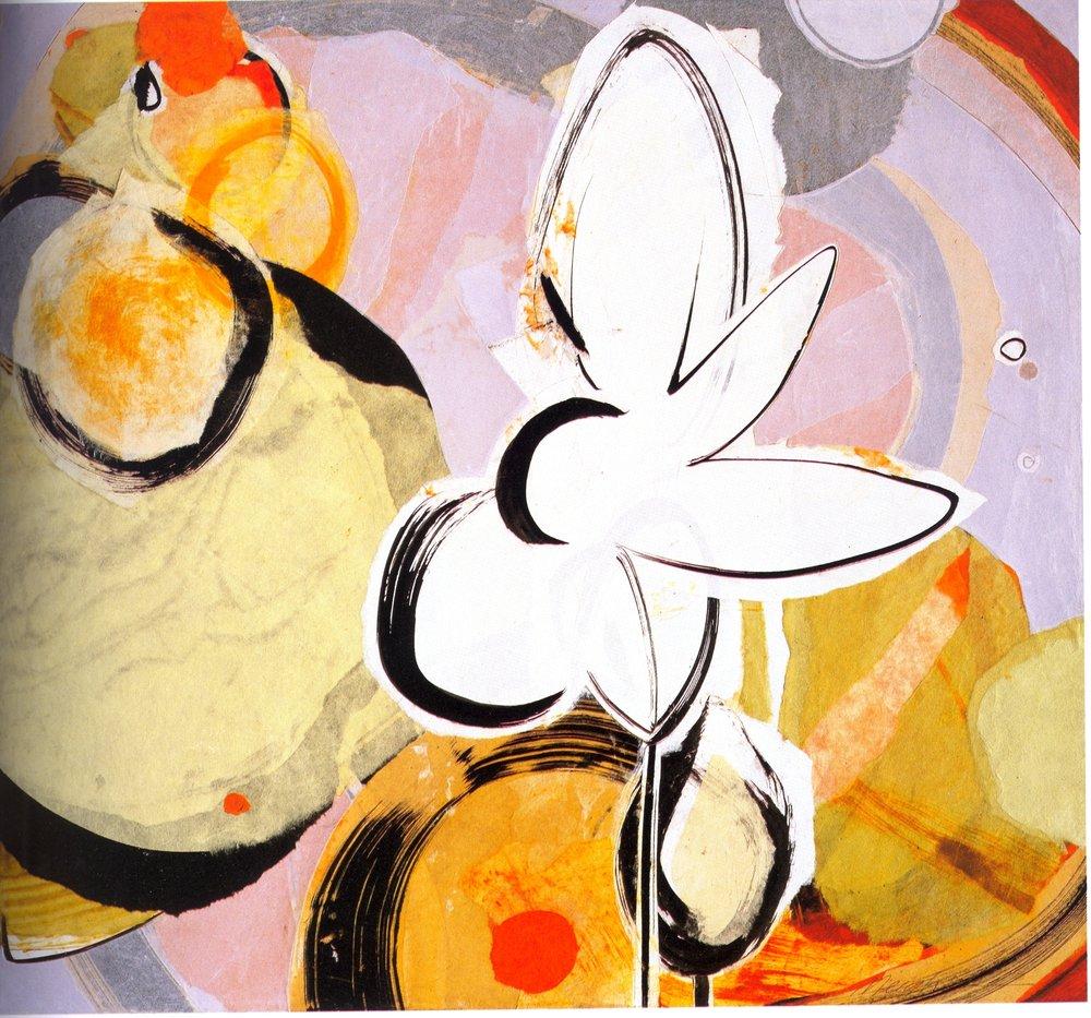 """Meighen Jackson    Spring,   collage on linen, 26"""" x 24"""", 2005"""