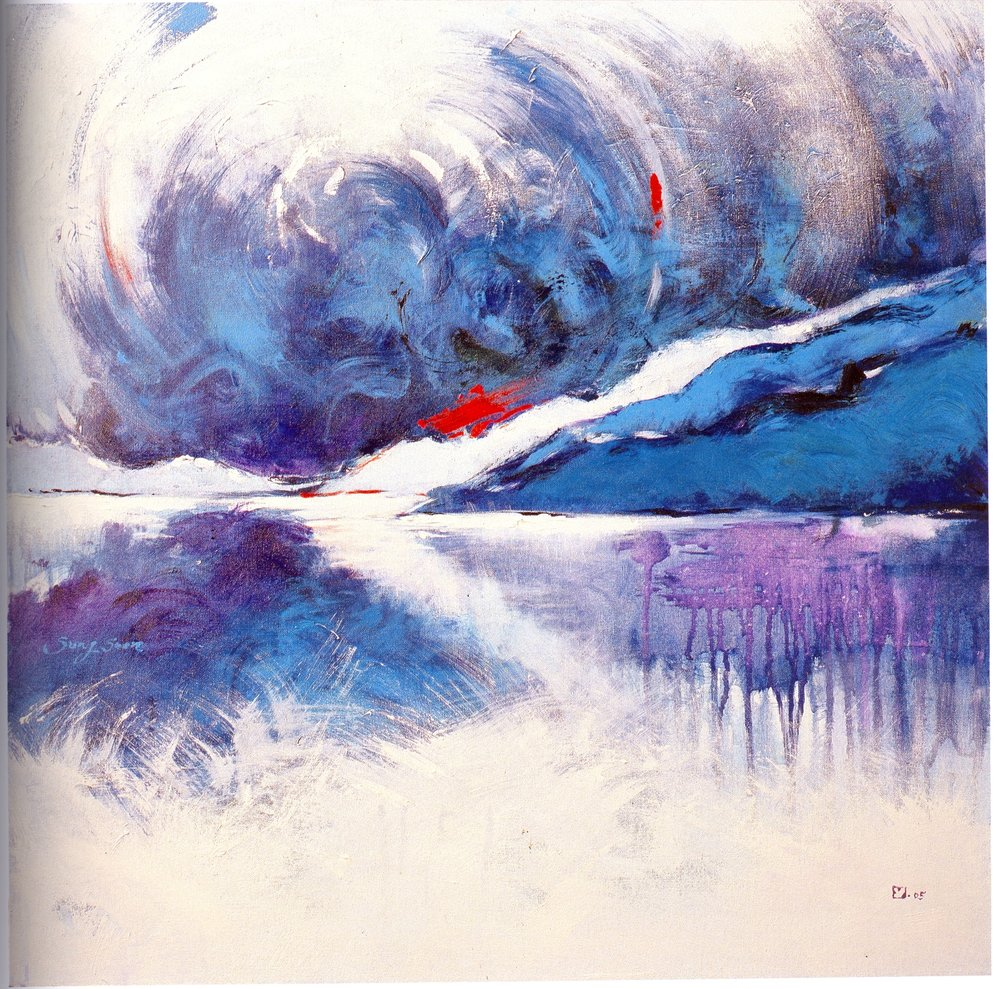 "Sung-Soon Yang    Blue Morning,   acrylic on canvas, 30"" x 30"", 2005"