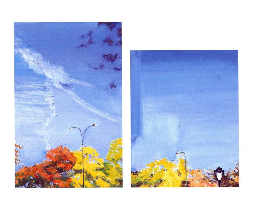(Left)   Near San Remo, Skyscape 3  , Oil on canvas, 36'' x 24'', 2004 (Right)   Near San Remo, Skyscape 4  , Oil on canvas, 30'' x 24'', 2004