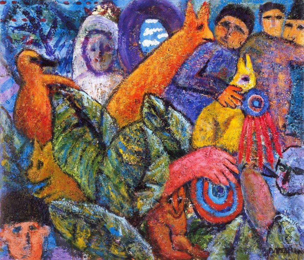 Salient Parables VI   Acrylic, sand on canvas, 38'' x 44'', 2004