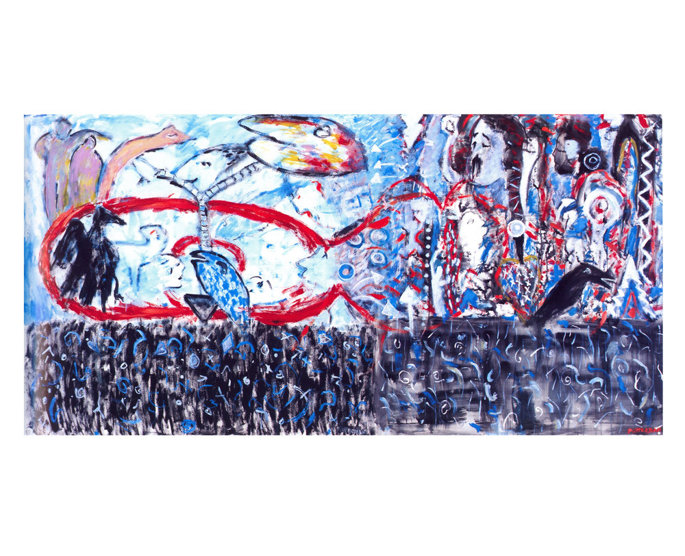 Night & Day   Watercolor, 50'' x 98'', 2003