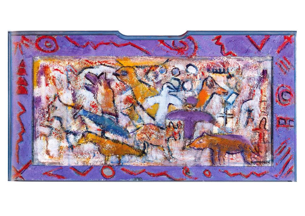 Allegoric Legends XII   Acrylic, sand on wood, 18'' x 37''