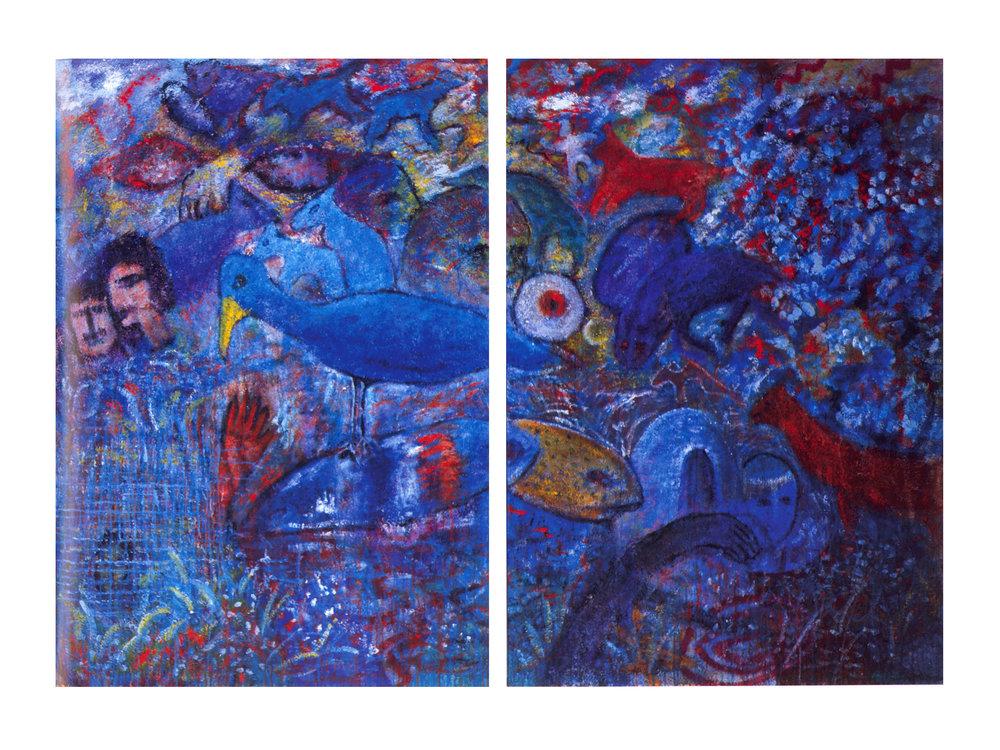 Garden of Eden Series   Acrylic, sand on canvas, 72'' x 104'', 2003