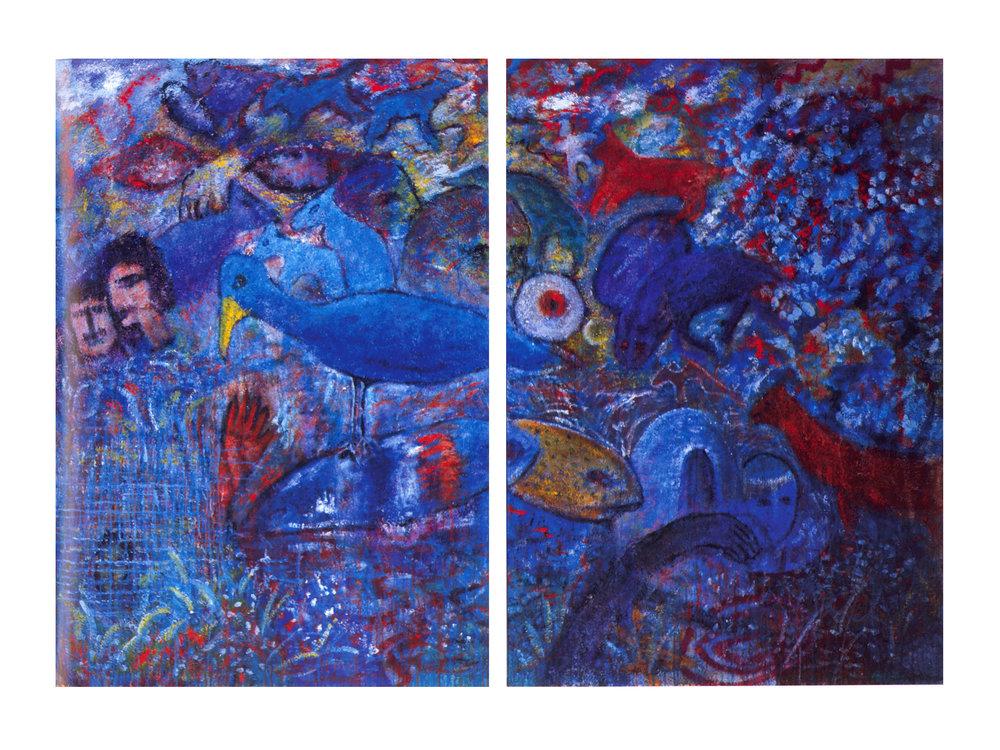 Garden of Eden Series   Acrylic, sand on canvas, 72'' x 104'', 2003