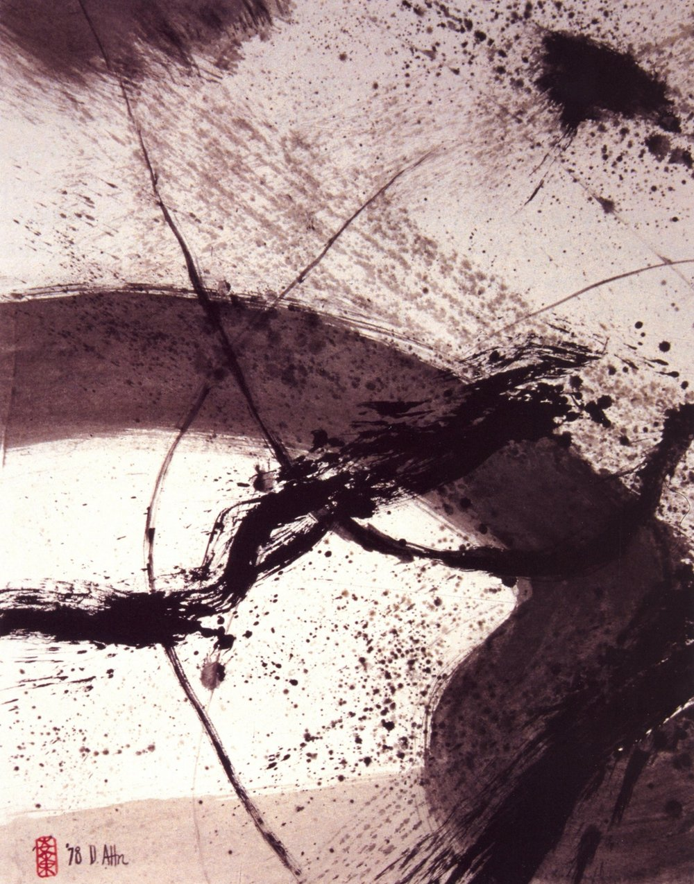 Don Ahn   Zen Struggle  , Ink on rice paper, 26 1/2'' x 34'', 1978
