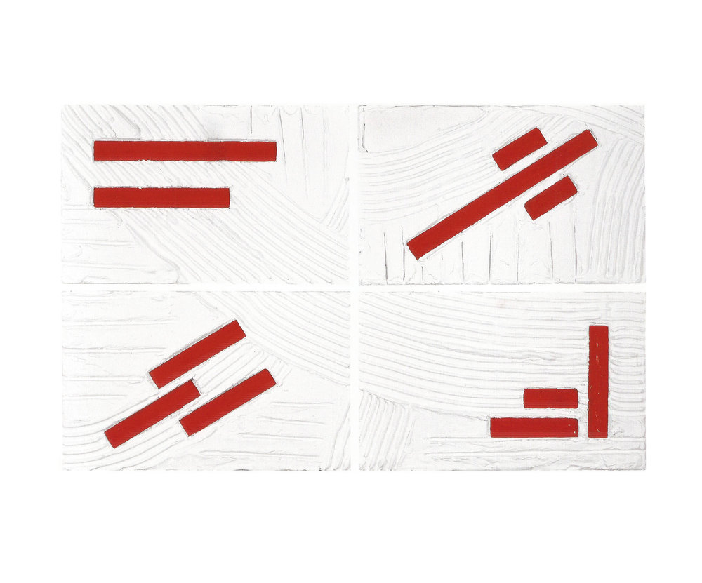 I Portali Dell' Anima Series - 2003, Untitled #33, Red Dashes, Quadripartite   Mixed Media on board, 20'' x 32''