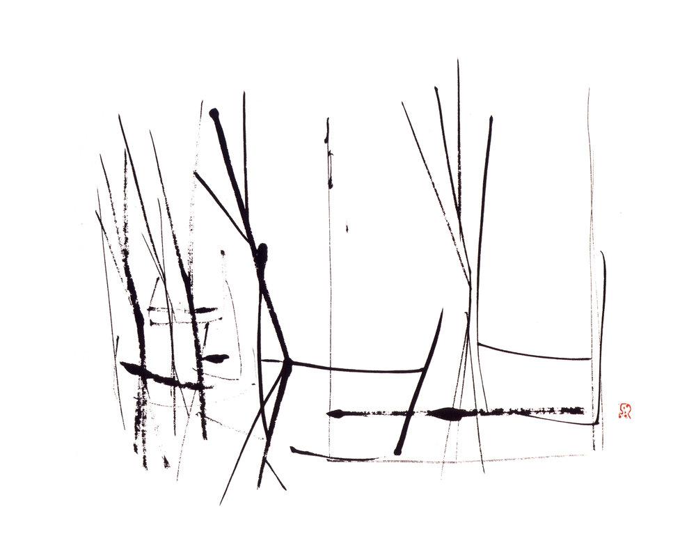Peace II   Sumi on Paper, 10.1'' x 16.2'', 2003