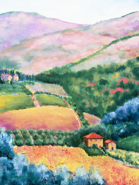 "Villa Vignamaggio, Chianti    28"" x 36"", Oil on Canvas, 2004"