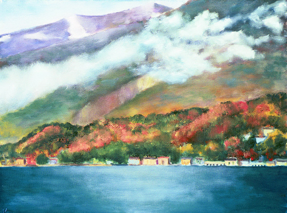 "La Bella Vista #1, Bellagio    28"" x 36"", Oil on Canvas, 2004"