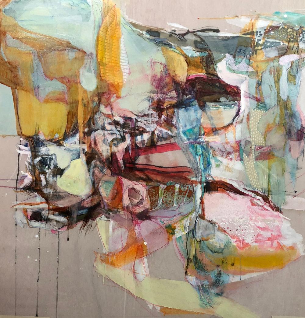 "Emotional Landscape 9 by Kayo Albert    Oil, Pastel, Acrylic, Tempera on Mylar on Woodpanel, 36"" x 36"", 2018"