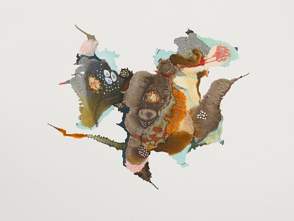 """Pinkpecker by Linda Lee Nicholas    Ink on Paper, 21"""" x 25"""", 2012"""