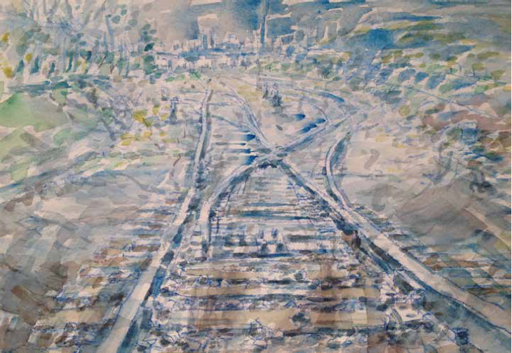"""Study for Blue Track    Watercolor on Paper, 7"""" x 10"""", 2016"""
