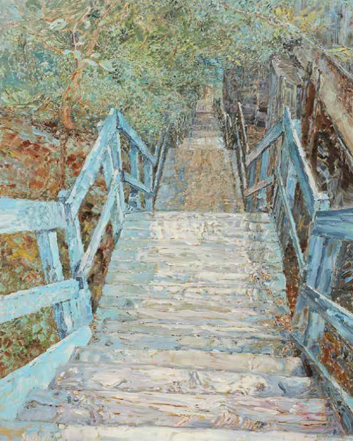 """Stairway to Rosedale    Oil on Canvas, 60"""" x 48"""", 2017"""