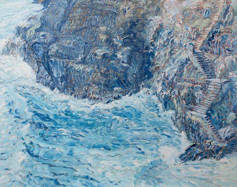 "Vernazza Stairway    Oil on Canvvas, 40"" x 50"", 2017"