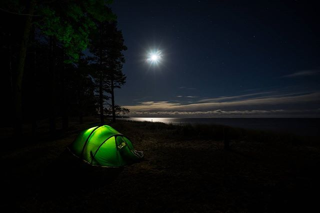 Baltic beach life by the moonlight.
