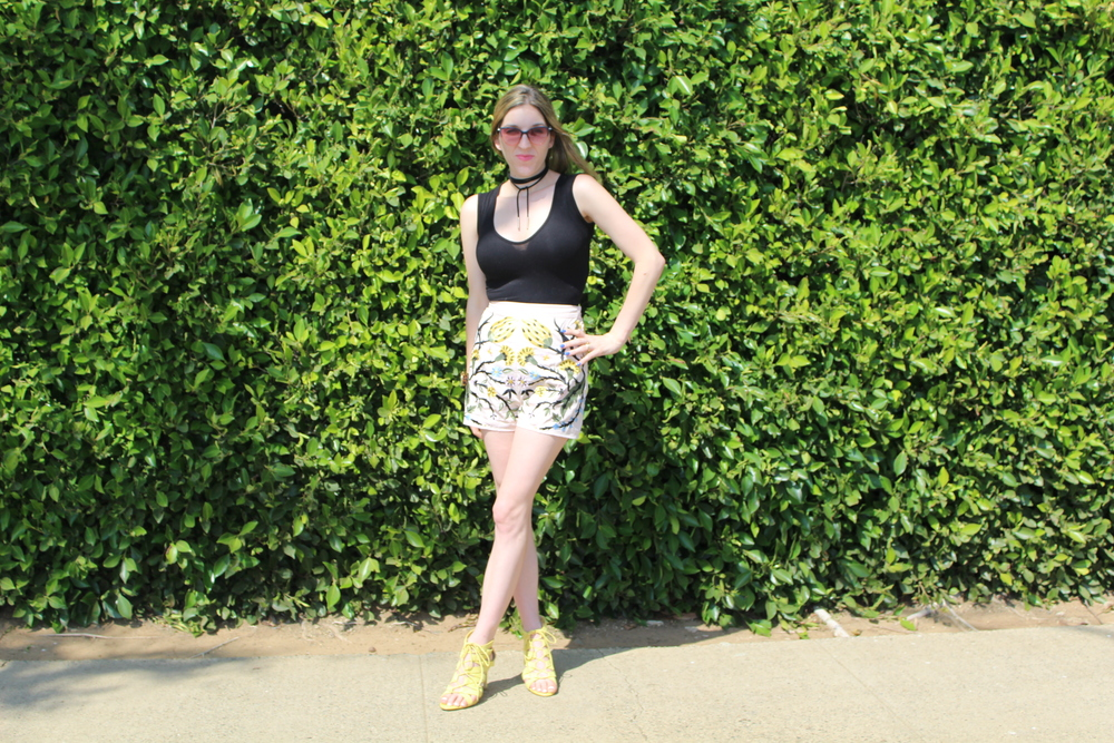 Shorts:  Asos  // Bodysuit:  Boohoo  // Choker:  Make Me Chic  // Shoes: Banana Republic, similar  here  // Sunnies:  Marc Jacobs