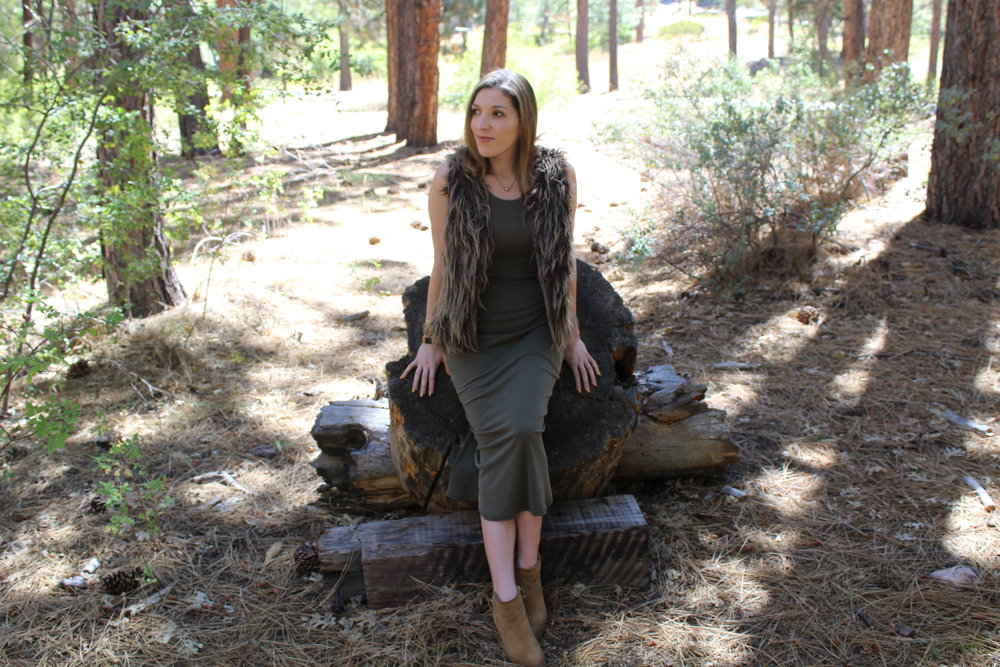 Vest: Old,  similar here  // Dress: Acemi,  similar here   // Boots: Banana Republic,  similar here   Happy Wednesday! This is a look I wore over the Labor Day holiday weekend up in Big Bear, California. I love the length of this dress and the color, both so on trend and ready to take into fall! The fur vest is a closet staple that can be worn up or down, with dresses or jeans alike! Another great addition to any closet is a tan bootie! They go with everything! I can not tell you how often I wear these boots and with how many different outfit combinations! I have fallen absolutely in love with Big Bear, I had not been up there since I was a little girl. It was so beautiful and peaceful as you can see in these photos. Put me near the woods and a log cabin and I'll be completely content! I can't wait till my next travel adventure!!!  As always, thanks for stopping by and keep following for more new looks!!!  xx Nicole