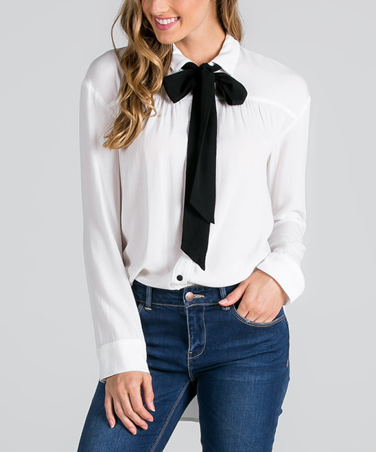 6.  Tie Neck Blouse   Tie neck blouses are super popular right now and I love ones with a bigger bow width like the one above. I think that these blouses are cute plain or even with a fun print. Check out my favorites  here ,  here , and  here.