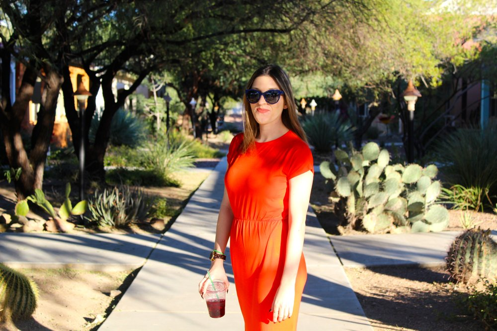 Dress:  Asos  // Shoes:  Adidas //  Sunglasses:  Chanel    As you saw in a recent post, I made my way to Tucson, Arizona a couple weeks ago. One of my favorite things about the desert is the colorful and cute houses! So of course I had to have a bright dress to fit right in. There is a little neighborhood just right off of 4th St. and downtown wear you can find the most colorful and unique houses. It is my favorite spot in the whole city. I love to just walk around and admire all that the neighborhood has to offer! Another perk of this neighborhood is that there is the cutest little french cafe right down the street where they serve my favorite drink... Jamaica! No, it's not the country, but is a delicious hibiscus tea!!! I have to have one when I am there and I practically lived on it while in college! I highly recommend it if you haven't tried it!   Sometimes the best outfits are the most simplest of ones. Something as easy as a cotton t-shirt midi dress can turn out to be the cutest piece in your closet! I love the fun color of this dress and the cinch waist offers a very flattering fit for just about any body or anybody ( tee hee!). Pairing it with my Stan Smiths made this look on trend and casual, but it can easily be dressed up with a pair of cute heels or tights and a scarf,now that the weather has permitted it. Another great idea to dress this dress up would be to add a cute waist belt. I have a leopard one I'm just dying to throw on! So if you ever find yourself in Tucson, do yourself a favor and visit this wonderful neighborhood and don't be afraid to add some color to your daily life!  Thanks for reading!  xx Nicole