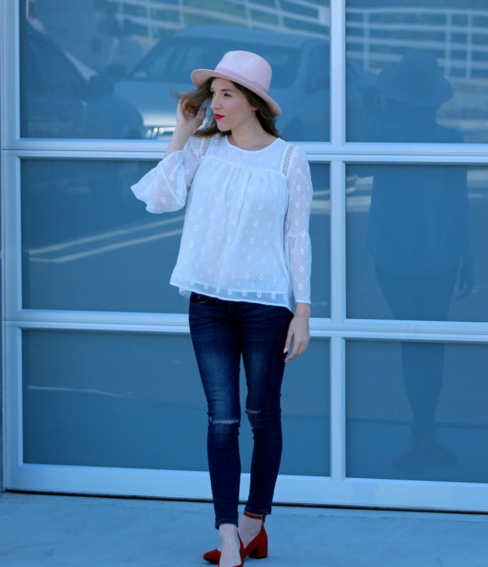 Top :  Loft  ( ON SALE!!! ) //  Jeans :  Banana Republic  //  Shoes :  Chinese Laundry  //  Hat :  Banana Republic Factory       Hello and happy Wednesday! Above are two of my newest favorite items! This daisy eyelet top first of all, is one of the cutest tops I have ever seen! It is so girly and I love the bell sleeves. I have been dying to wear something eyelet this Spring so this top is perfect! The second item is my new pink straw hat- another winner for Spring! Plus, it's pink! These items are so cute and feminine, I am excited to pair more adorable outfits for the Spring months ahead! Loft is killing it with their Spring items lately! There are so many items I am drooling over like this other   eyelet top  , these   pants ,  and this   dress!   Plus, everything is 40% off right now! What could be better!? Thanks for stopping by!  ~ Nicole