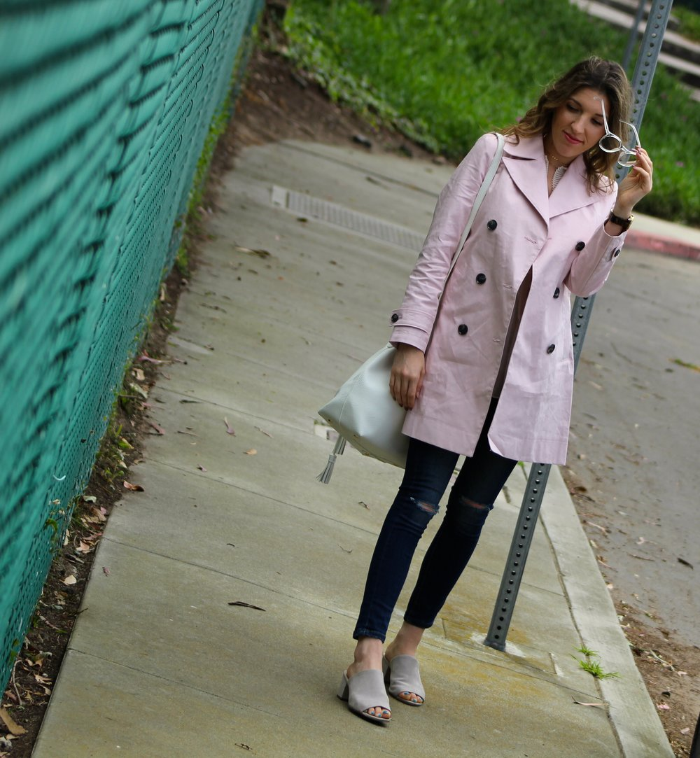 Trench :  Banana Republic  //  Top:  F21,  similar here  //  Jeans : Banana Republic,  similar here  //  Shoes:   F21  //  Glasses:   similar here  //  Purse:   F21  //  Necklaces:     F21      Hi friends! Today's post is featuring one of my favorite colors- pink! This trench is in the loveliest shade.  The color of this trench is such a soft baby pink and it compliments many other colors. Of course a perfect color for Spring. I love that pink has become a new neutral. This coat is clearly the star of this look. Looking at the links above, you can see that other than my coat, jeans, and glasses, the rest of this outfit is from  Forever21 . Lately I have been finding the best stuff there! I love when that happens! I have to shop online to purchase their clothing because I get overwhelmed by the big stores. Does anyone else feel like this? Anyway, I love this look! It is a totally cool and casual look but still scores major street style points. I really like the color combos in this look as well. The pink, white, and grey all play so nicely with one another. Like I said in a previous post last week, I am all about glasses right now! I think many other people are as well. I am seeing more and more yellow sunnies popping up! Glasses to me, just add an instant cool factor to any look. I've got a lot of new posts coming soon so keep checking back and make sure to follow my Instagram to see my daily looks. I hope you all have the best day!!!!  ~ Nicole