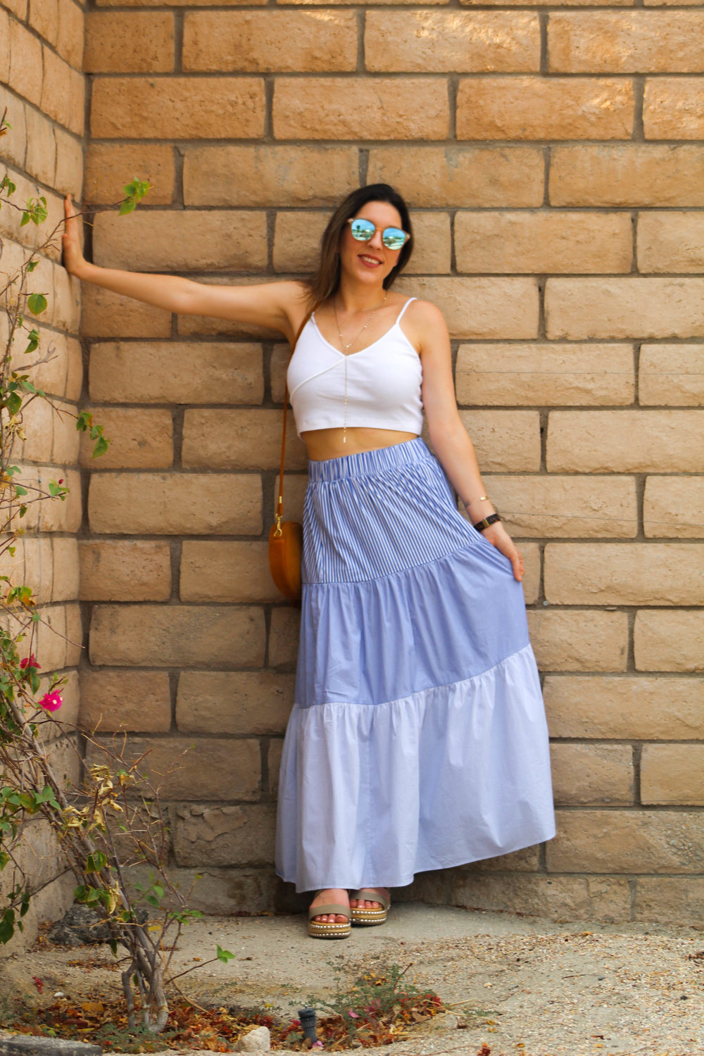 Skirt: Zara,   similar here   // Top:   Topshop   // Shoes:   Seven Dials   // Purse:   similar here   // Sunnies:   Le Specs