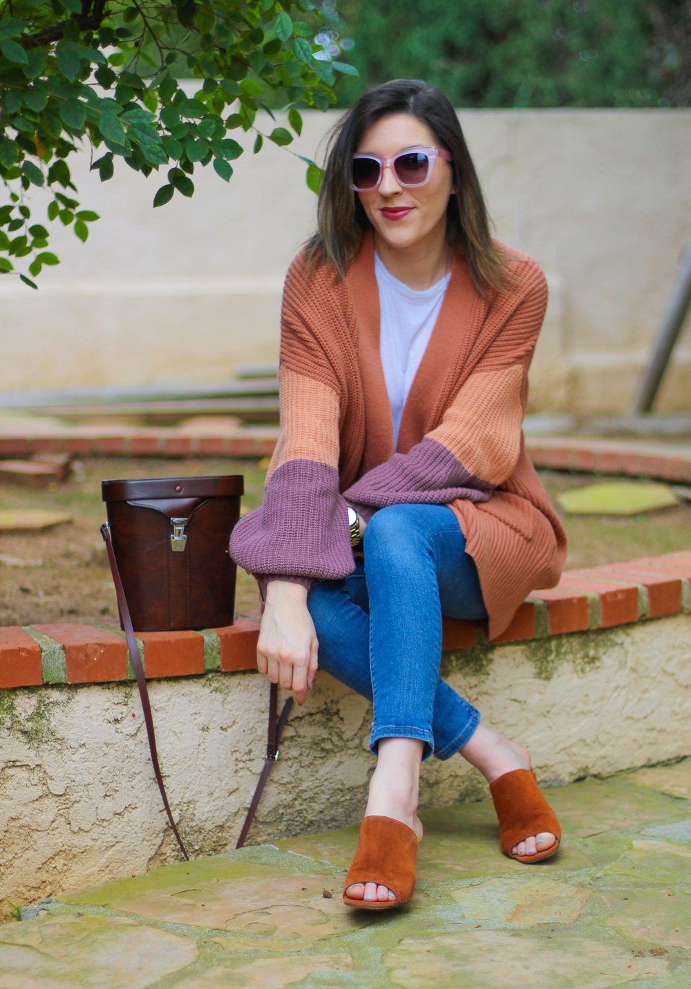 Sweater:   Urban Outfitters   // Jeans:   BR   // Top: Pencey Standard, similar   here   // Heels: similar   here   // Sunnies: similar   here   // Bag: Vintage, similar   here