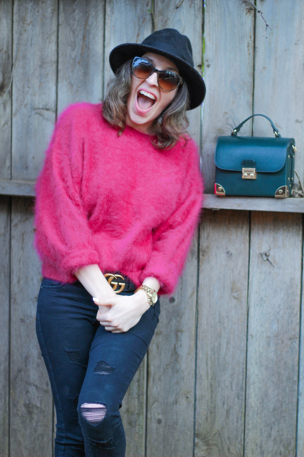 Sweater: vintage, similar   here   // Jeans:   Old Navy   // Shoes:   Bamboo   // Belt:   Gucci   // Hat:   Goorin   Bros // Sunnies:   Chanel   // Bag: F21, similar   here