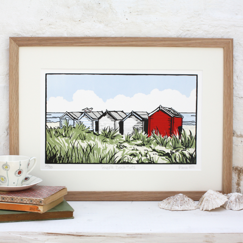 Suffolk Beach Huts linocut by Fiona Carver